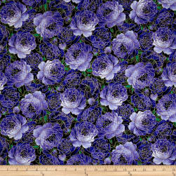 Timeless Treasures Metallic Enchanted Packed Roses Purple Fabric
