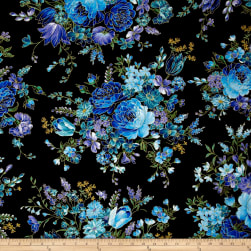 Timeless Treasures Metallic Enchanted Main Floral Black Fabric