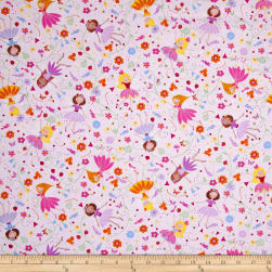 Timeless Treasures Metallic Fairy Trail Fairies Lavender Fabric
