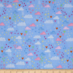 Timeless Treasures Metallic Fairy Trail Clouds & Hearts