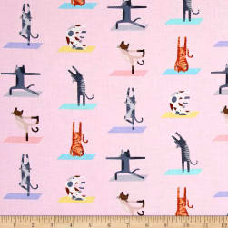 Timeless Treasures Downward Cat Yoga Cats Pink Fabric