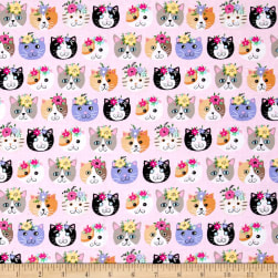 Timeless Treasures Petal Perfect Cats Pink Fabric