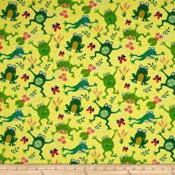 Timeless Treasures Playful Frogs Yellow Fabric