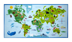 Timeless Treasures Animal Map 24'' Panel Blue Fabric