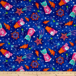 Timeless Treasures Astrocats Space Cats Cobalt Fabric