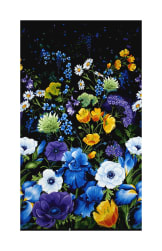 Timeless Treasures Reverie 24'' Flower Panel Black Fabric