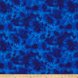 Timeless Treasures Reverie Watercolor Flower Cobalt Fabric