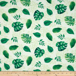 Timeless Treasures Island Breeze Monstera Leaves White Fabric