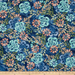 Timeless Treasures Tranquility Flowers Denim Fabric