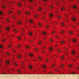 Timeless Treasures Tuscan Poppies Packed Poppies Red