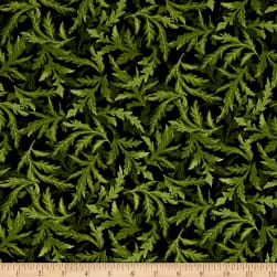 Timeless Treasures Tuscan Poppies Tossed Leaves Green Fabric