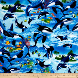 Timeless Treasures Sealife Vacation Killer Whales Wave Fabric