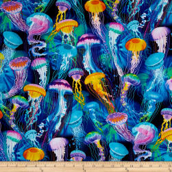 Timeless Treasures Sealife Vacation Jellyfish Aqua Fabric