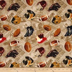 Timeless Treasures Vintage Sports Football Taupe Fabric