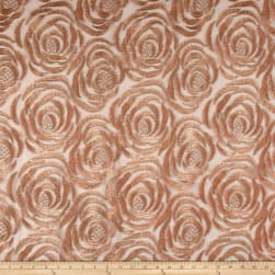 Embroidered Rose Netting Copper Pink Fabric