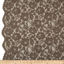 Designer Corded Floral Scallop Lace Taupe Fabric