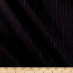 Pinstripe Super 100 New Twist Suiting Black Fabric