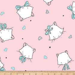 Shannon Sweet Melody Designs Whiskers Cuddle Blush Fabric