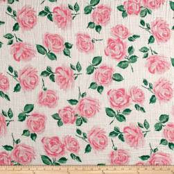 Shannon Embrace Double Gauze Rose Garden Pink Fabric