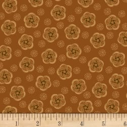 Kim Diehl Helping Hands Stylized Flower Orange Fabric