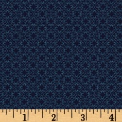 Modern Melody Basic Filigree Geo Navy Fabric