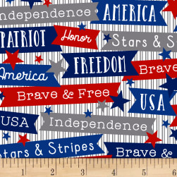 Brave & Free Words White Fabric