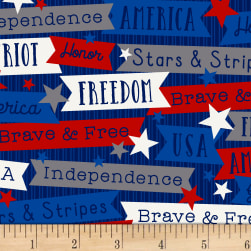 Brave & Free Words Navy Fabric