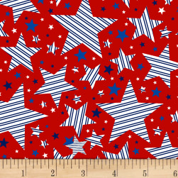 Brave & Free Striped Stars Red Fabric