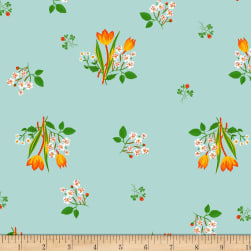 Heather Ross Kinder Spring Blooms Pale Blue Fabric