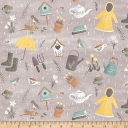 Smitten With Spring Spring Showers Grey Fabric