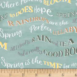 Smitten With Spring Words Aqua Fabric