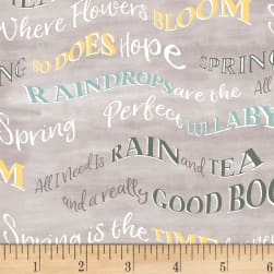 Smitten With Spring Words Grey Fabric