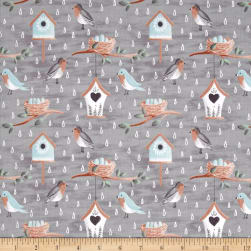 Smitten With Spring Birds Grey Fabric