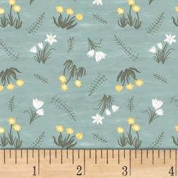 Smitten With Spring Flowers Aqua Fabric