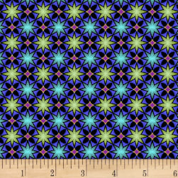 Mystique Star Dot Blue Fabric