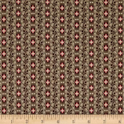 Madeline C.1880-1901 Leaf Stripe Mocha Fabric
