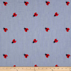 Telio Cheerful Embroidered Cotton Lawn Stripe Ladybug Blue