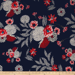 Telio Crezia Puff Jersey Knit Floral Navy Fabric