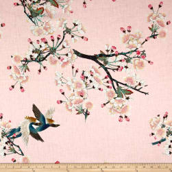 Telio Digital Linen Cherry Blossom Bird Pink Fabric