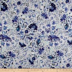 Telio Digital Linen Floral Blue Fabric