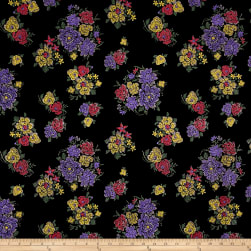 Telio Essence Knit Velvet Floral Black Fabric