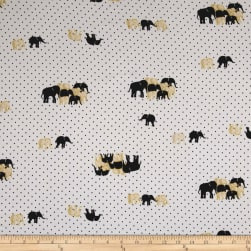 Telio Glamour Satin Elephant Dot Ivory Fabric