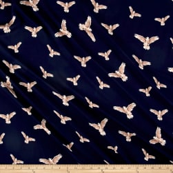 Telio Moda Crepe Bird Navy Fabric