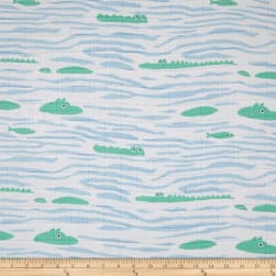 Telio Organic Muslin Double Gauze Crocodile Blue Fabric