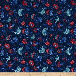 Telio Picasso Rayon Poplin Floral Dot Navy Fabric