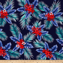 Telio Picasso Rayon Poplin Tropical Floral Navy Fabric