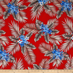 Telio Picasso Rayon Poplin Tropical Floral Red Fabric