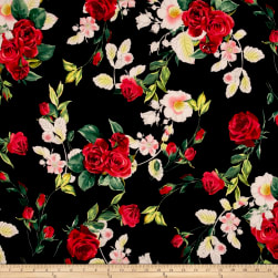 Telio Polyester Crepe Floral Black Fabric