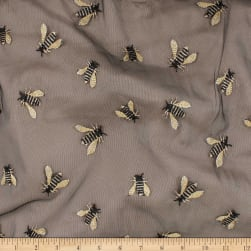 Telio Queen Bee Mesh Embroidey Black Bees Fabric