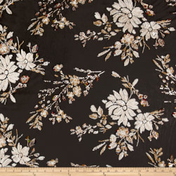 Telio Sequin Mesh Embroidery Floral Black Gold Fabric